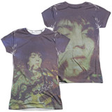 Syd Barrett Pink Floyd Title (Front/Back Print) Junior Women's Sublimated Crew T-Shirt White