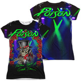 Poison Good Time Live (Front/Back Print) Junior Women's Sublimated Crew T-Shirt White