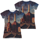 Pink Floyd Animals (Front/Back Print) Junior Women's Sublimated Crew T-Shirt White
