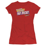 Fast Times at Ridgemont High No Dice S/S Junior Women's T-Shirt Sheer Red