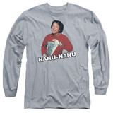 Mork & Mindy Catchphrase Long Sleeve Adult 18/1 T-Shirt Athletic Heather