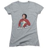 Mork & Mindy Catchphrase Junior Women's T-Shirt V-Neck Athletic Heather