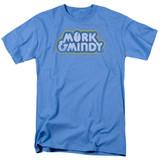 Mork & Mindy Distressed Mork Logo S/S Adult 18/1 T-Shirt Carolina Blue