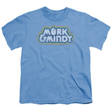 Mork & Mindy Distressed Mork Logo S/S Youth 18/1 T-Shirt Carolina Blue
