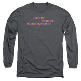 Mister Rogers Colorful Logo Long Sleeve Adult 18/1 T-Shirt Charcoal
