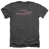 Mister Rogers Colorful Logo Adult T-Shirt Heather Charcoal