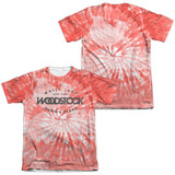 Woodstock Tie Dye (Front/Back Print) Adult Sublimated T-Shirt White