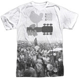 Woodstock Crowd Adult Sublimated Crew T-Shirt White