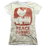 Woodstock Peace Now Junior Women's Sublimated Crew T-Shirt White