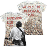 Woodstock Apart From The Crowd (Front/Back Print) Junior Women's Sublimated Crew T-Shirt White
