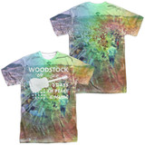 Woodstock On The Hill (Front/Back Print) Adult Sublimated Crew T-Shirt White