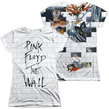 Roger Waters Pink Floyd The Wall (Front/Back Print) Junior Women's Sublimated Crew T-Shirt White