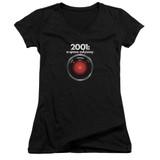 2001 A Space Odyssey Hal Junior Women's V-Neck T-Shirt Black