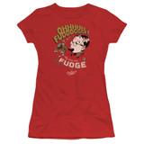 A Christmas Story Fudge Junior Women's Sheer T-Shirt Red