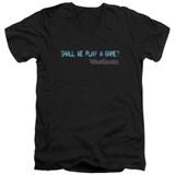 WarGames Shall We S/S Adult V Neck 30/1 T-Shirt Black