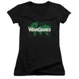 WarGames Game Board Junior Women's T-Shirt V Neck Black