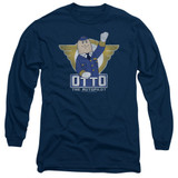 Airplane Otto Adult Long Sleeve T-Shirt Navy