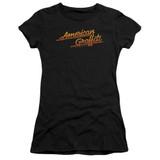 American Graffiti Neon Logo Junior Women's Sheer T-Shirt Black