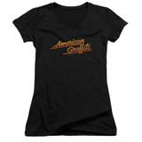 American Graffiti Neon Logo Junior Women's V-Neck T-Shirt Black