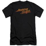 American Grafitti/Neon Logo Premuim Canvas Adult Slim Fit T-Shirt Black