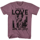 Jimi Hendrix Bold As Love Vintage Maroon Heather Adult T-Shirt