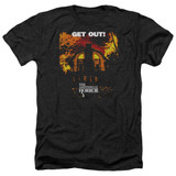 Amityville Horror Get Out Adult Heather T-Shirt Black