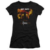 Amityville Horror Get Out Junior Women's Sheer T-Shirt Black