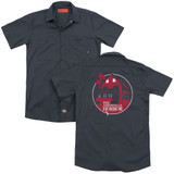 Amityville Horror Red House (Back Print) Adult Work Shirt Charcoal