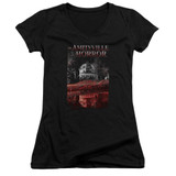 Amityville Horror Cold Blood Junior Women's V-Neck T-Shirt Black