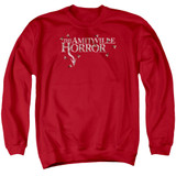 Amityville Horror Flies Adult Crewneck Sweatshirt Red