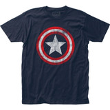 Captain America Distressed Shield Fitted Jersey Classic T-Shirt