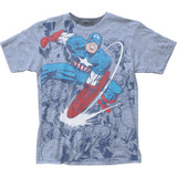 Captian America Captain Fighting Big Print Subway Classic T-Shirt