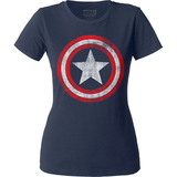 Captain America Distressed Shield Junior Women's Crew Classic T-Shirt