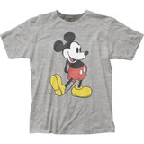 Mickey Mouse Pose Heather Grey Fitted Jersey T-Shirt