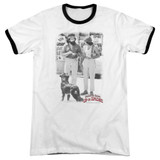 Cheech and Chong Up In Smoke Square Adult Ringer T-Shirt White/Black