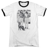 Cheech and Chong Up In Smoke Dog Adult Ringer T-Shirt White/Black