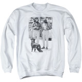 Cheech and Chong Up In Smoke Dog Adult Crewneck Sweatshirt White
