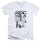 Cheech and Chong Up In Smoke Dog S/S Adult V-Neck 30/1 T-Shirt White
