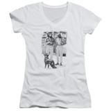 Cheech and Chong Up In Smoke Dog Junior Women's T-Shirt V-Neck White