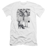 Cheech and Chong Up In Smoke Dog Premium Canvas Adult Slim Fit 30/1 T-Shirt White