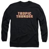 Tropic Thunder Title Long Sleeve Adult 18/1 T-Shirt Black