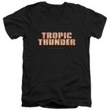 Tropic Thunder Title S/S Adult V-Neck T-Shirt Black