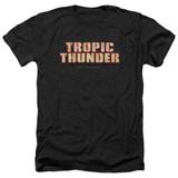 Tropic Thunder Title Adult T-Shirt Heather Black