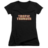 Tropic Thunder Title Junior Women's T-Shirt V-Neck Black