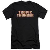 Tropic Thunder Title Premium Canvas Adult Slim Fit 30/1 T-Shirt Black
