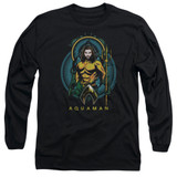 Aquaman Movie Aqua Nouveau Long Sleeve Adult T-Shirt Black