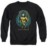 Aquaman Movie Aqua Nouveau Adult Crewneck Sweatshirt Black
