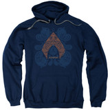 Aquaman Movie Aqua Paisley Adult Pullover Hoodie Sweatshirt Navy