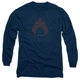 Aquaman Movie Aqua Paisley Long Sleeve Adult T-Shirt Navy