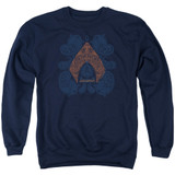 Aquaman Movie Aqua Paisley Adult Crewneck Sweatshirt Navy